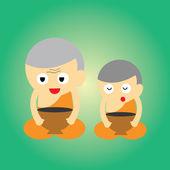 Desenhos animados de monge budista — Vetor de Stock