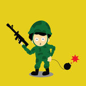 Soldier vector cartoon — Stock Vector
