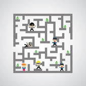 Maze against game — Stock Vector