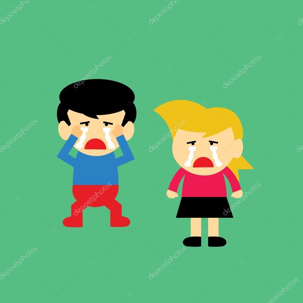 男孩和女孩在哭泣 — 图库矢量图片