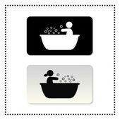 Bathtub symbol tag — Stock Vector