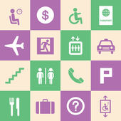 Airport icons set — Stock Vector