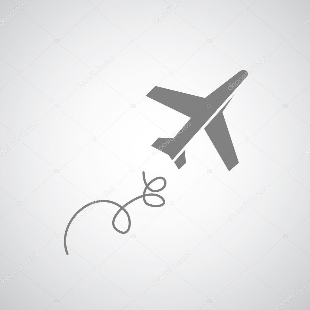 在灰色的背景上飞机符号