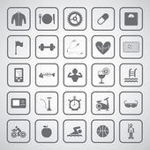 Sports and healthy icons set — Stockvektor