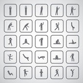 Body exercise stick figure icon — Stock Vector