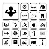 Sports and healthy icons set — Vecteur