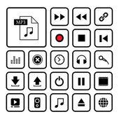 Nastavit ikonu hudební tlačítko — Stock vektor