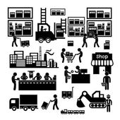 Manufacturer and distributor icon — Stock Vector