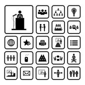 Conference icon set — Stock Vector