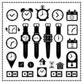 Watch and time icons set  — Stock Vector