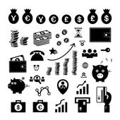 Money and financial icon set  — Vettoriale Stock