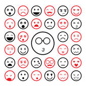 Faces emoticon icons set — Stock Vector