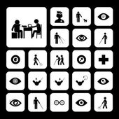 Blind man and hospital icon — Stock Vector