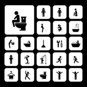 Toilet and hygiene icons  — Vector de stock