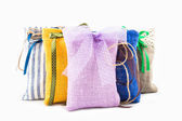 Decorative textile sachet pouches — Stock Photo
