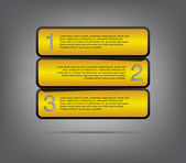 Three modern plastic banners template for step presentation — Stock Vector