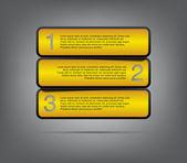 Три современных пластиковых баннеры шаблон для представления шаг — Cтоковый вектор