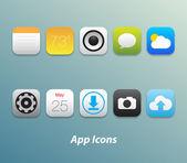 Set di icone di app per smartphone e tablet — Vettoriale Stock