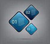 Tre rundade och färgglada fyrkantiga banners för steg presentation — Stockvektor