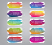 Arka plan boya fırça konturu el ile 10 renkli vektör sticker etiket kümesi etiketler — Stok Vektör