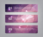 A set of three modern vector banners with polygonal background — Stock Vector