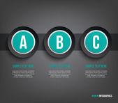 Три современные бумаги баннеры шаблон для представления шаг с темным фоном может использоваться для рабочего процесса или Инфографика макета — Cтоковый вектор