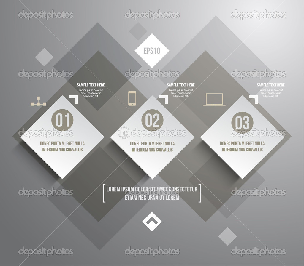 Three modern paper banners template for step presentation can be ...