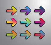 Flechas de papel vector — Vector de stock
