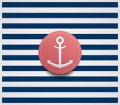 Sailor theme with anchor button — Stock Vector