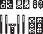 Woofer, loudspeaker, surround system, hi-fi, hi-end illustration — Stockvector