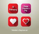 Düz sevgililer günü simgeler kümesi — Stok Vektör