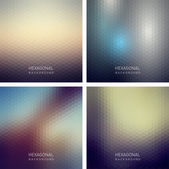 Set of abstract hexagonal backgrounds — Stock Vector