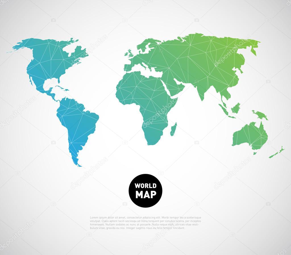 世界地图背景与多边形三角形