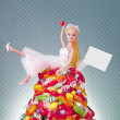 Generic Doll Bride and Candy Pile — Stock Photo