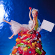 Generic Doll Bride and Candy Pile — Stockfoto