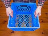 Man Holding Crate — 图库照片
