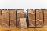 Brown Grocery Bags in a Row — Stok fotoğraf