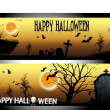 Stock Vector: Happy Halloween day banner set design, vector illustration