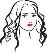 若い美しい女性の顔 — ストックベクタ