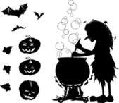 Halloween cartoon set with silhouettes of witch, bat, pumpkin an — Stock Vector