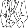 Vector de stock : Stately bridegroom in light jacket