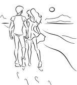 Couple on the beach — Stock Vector
