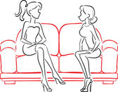 Girlfriends talking sitting on sofa — Stock Vector