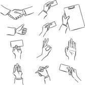 Набор бизнес символ с рукой — Cтоковый вектор
