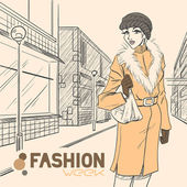 Series Urban fashion. Autumn, winter. — Vector de stock