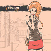 Urban fashion. City and people — Stock Vector