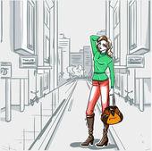 Series Urban fashion. Street panorama and slender girl — Vecteur