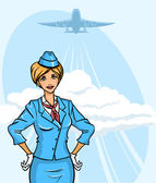 Stewardess — Stock Vector
