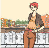 Woman on quay — Vector de stock