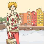 Girl and shopping — Stock Vector